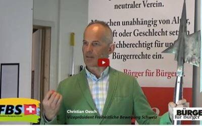 Gewalt ist keine Lösung!  Christian Oesch  Vizepräsident Freiheitliche Bewegung Schweiz